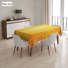 Yellow Table Cloth Flower Featured Classic Damask Decor Pattern Original Royal French Style Orange 145x120 cm / 145x180 cm