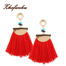 Vintage Big Fan Fringe Earrings Pink Black Red Blue Brush Tassel Earrings Drops For Women Jewelry(China)