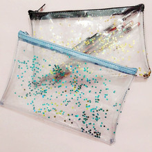Cute Transparent Glitter Stars Silica Gel PVC Plastic Water Proof Pencil Bag Pencil Case Cosmetic Bag School Supply(China)