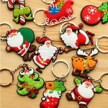 1/Pc New Hot Selling Silicone Santa Claus/Tree/Socks/Snowman Keychains Keyrings for Christmas Gifts Color Random