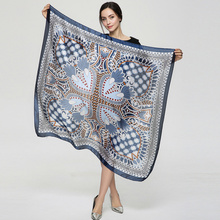 2017 Luxury Bandana Women hijab Print Scarf Long Shawls Brand Square Silk Scraf Women Scarves Summer YAU059(China)