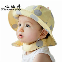 XIANXIANQING Winter Child Bucket Hats Solid Dot Baby Hat Yellow Pink Color Unisex Caps Children Cap High Fashion Street AL213(China)