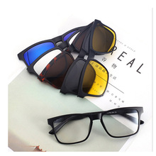 Sunglasses myopic lens two in one Buy one get Five Polarized Sunglasses Myopia sunglas replaceable(China)