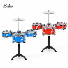 Zebra Red Blue Kids Toys Drum Kit Set of Toy Music Hand Knocking Percussion Instruments Kid Jazz Beating Drum