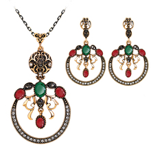Luxury Dangle Circles Oval Resin Unique Wedding Engagement Jewelry Set for Women(China)