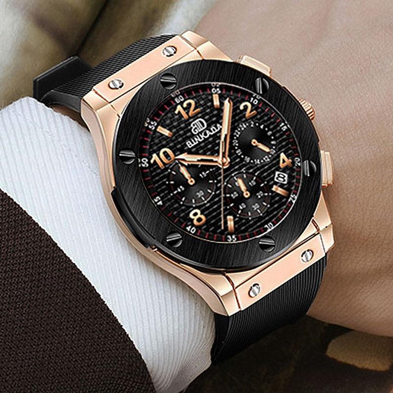 Luxury Brand Casual Wrist Watch Men BINKADA New Chronograph Rose Gold Watch Men Rubber Strap Quartz-watch Relojes<br>