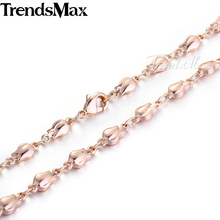 Trendsmax 4mm Bud Bead Beaded Link Chain Rose Gold Filled Necklace Girls Womens Chain High Quality Trendy Jewelry GN226