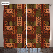 Turkey Textile Curtains Living Room Bedroom Brown Orange Native American Decor Ethnic Style Ornament 2 Panels Set 145*265 sm