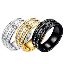 Zircon Ring New 8mm Half Circle Three Row Crystal Stainless Steel finger Rings for women men(China)