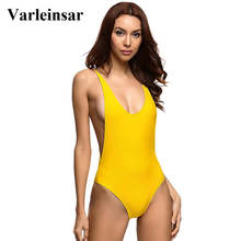 Varleinsar 2017 Sexy yellow one piece swimsuit bathing suit swim wear Low V neck scoop back monokini female swimwear Women V111Y