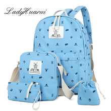 4 Pcs/set Preppy Style  women backpack canvas printing school bags for teenagers girls backpacks cute schoolbag kids pen Q3