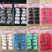 100Pcs DIY Acrylic Gel French Nail Art Colored French Tips False Nail Tips(China)