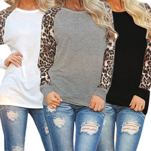 Fashion Blusas 2017 New Women Ladies Summer Autumn Long Sleeve Leopard Loose Casual Blouses Tops Shirt 3 Colors Plus Size S-3XL