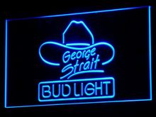 a116 Bud Light George Strait Bar Pub LED Neon Sign with On/Off Switch 7 Colors 4 Sizes to choose