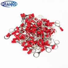 DIANQI RV1.25-10 Red 22-16 AWG 0.5-1.5mm2 Insulated Ring Terminal Connector Cable Wire Connector 100PCS/Pack RV1-10 RV(China)