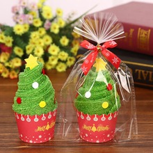 New 30x30cm Christmas Gift Towel Christmas Tree Santa Claus  Snowman White Green Red Christmas creative gift towels