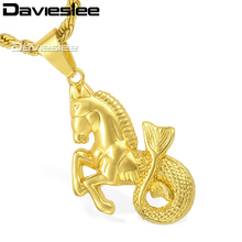 Davieslee Mens Chain Hip Hop Horse Fish Pendant Necklace Gold-color Rope Link 29.44inch LGP114_1