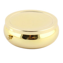 UXCELL Metal Round Shaped Mirror Moistureproof Medicine Holder Pill Storage Box Gold Tone