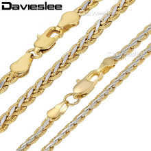Davieslee Mens Womens Necklace Yellow White Gold Filled Chain Hammered Braided Wheat Link Wholesale Jewelry 3/4mm LGN328