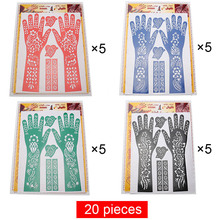 20pcs Large Hands Henna Tattoo Stencils Hand Airbrush Temporary Tattoo Stencil Template Stickers For Mehndi Body Paint Supplies(China)