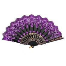 Uxcell Black Plastic Rib Gold Tone Glittery Powder Detailing Flower Pattern Foldable Hand Fan . | black | white