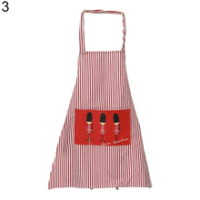 Home Kitchen Restaurant Women Vertical Stripes Bib Cooking Apron with Pocket(China)