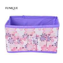 FUNIQUEPurple Printed Patterns Creative Folding Storage Box Storage Basket Multi-purpose Clothing Underwear Socks Storage Bag(China)