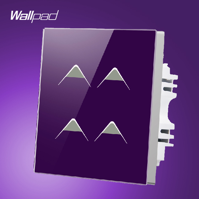Hotel Wallpad UK 4 Gang 1 Way Luxury Purple Crystal Glass Panel Led Light Switches, Free Shipping<br>