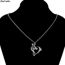 Fashion Necklace Jewelry Love Music Notes Pendant Chain Necklaces Heart Shaped Hollow Clavicle Necklace(China)