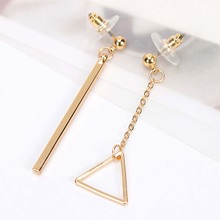 2017 Asymmetry Star Triangle Tassel Long Earrings For Women Gold Color Party Accessories(China)