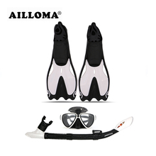 AILLOMA Adult Diving Camera Mask Snorkel Fins Diver Full Dry Breathing Tube Flipper Scuba Diving Anti-Fog Swimming Goggles sets(China)