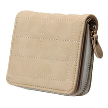 Lady Fashion Faux Leather Short Wallet Plaid Lines Card Holder Mini Zipper Purse(China)