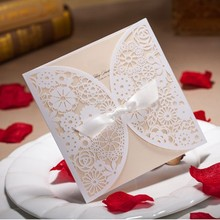 15cm*15cm Elegant Flower Square Bow Knot Wedding Invitations Card Floral Design With Pure Love Wedding Party Supplies