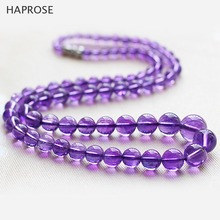 5A Amethysts Necklace Gifts Women Girls Beads Semi Finished Stones Balls perimeter48cm clavicle jewels 6-12mm beads Free mail(China)