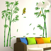 Green Bamboo Forest Wall Stickers PVC Material Decorative Films Living Room Cabinet Decoration Home Decor Stickers S20