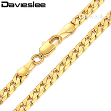 Davieslee Mens Chain Necklace 585 Rose White Gold Filled Cut Curb Link Wholesale Hip Hop Jewelry 5mm 45-70cm LGNM89(China)