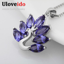 Peacock Pendant Necklace Women Collar Gifts For Women Purple Crystal Jewellery Accessories Para Mulher Colgantes Mujer  GJ501122