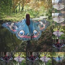 Women Butterfly Long Wing Large Fairy Cape Scarf Bikini Cover Up Chiffon Gradient Cover Up Shawl Peacock Cosplay Kelebek Scraves(China)