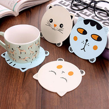 New 1PC Creative Cute Animals Cat Dining Table Placemat Coaster Kitchen Accessories Mat Cup Bar Mug Cartoon Drink Wooden Pads(China)