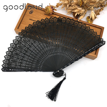 Wholesale Free / Drop Shipping 100pcs/lot Retro Asian Pocket Fan Black Bamboo Carved Hand Fan Party Supplies Kraft Craft(China)