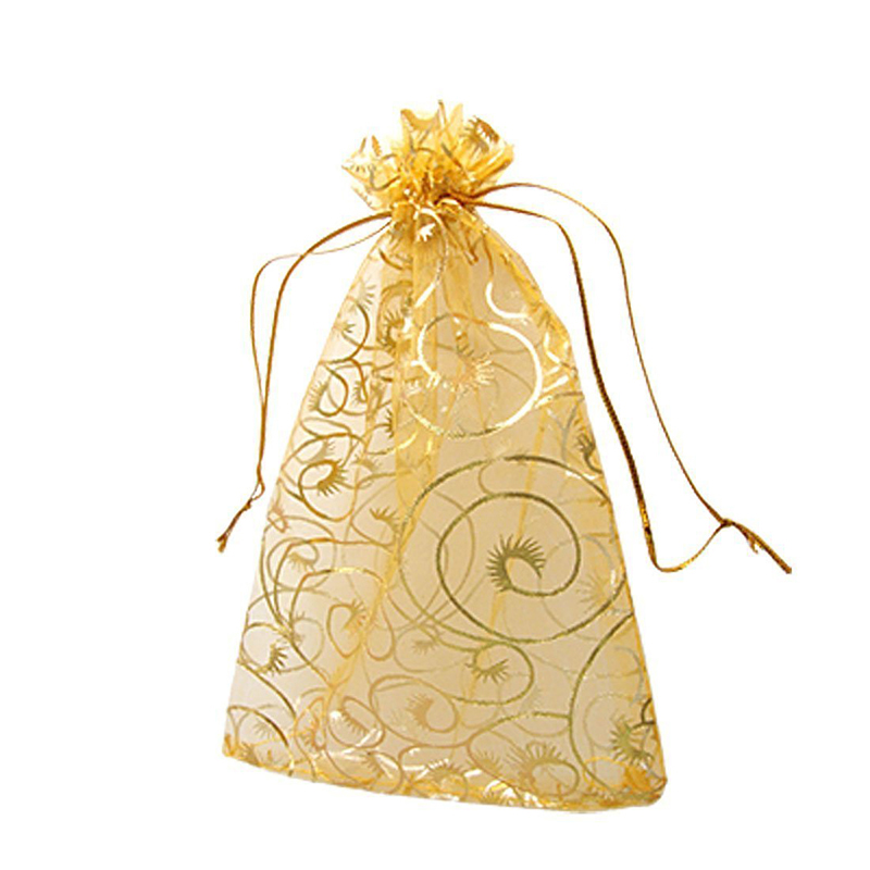 100pcs/pack 12x9cm Gold Organza Jewelry Pouch Wedding Party Favor Gift Bag title=