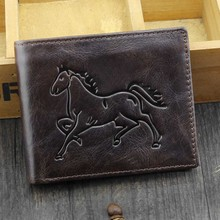 Men Wallet 100% Genuine Leather Fine horse pattern Vintage short Wallet  personality Purse With Zipper Coin Pocket
