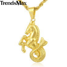 Trendsmax Horse Fish Pendant Necklace Mens Chain Hip Hop Gold-color Rope Link 29.44inch KGP114_1