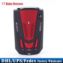 (Wholesale) 50pcs/lot Red GPS V7 VG-2 LED Car Radar Detectors 16 Band X K NK Ku Ka(China)
