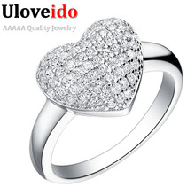 Uloveido Heart Silver Color Ring Crystal Jewelry Engagement Wedding Rings for Women Girls 2017 Acessorios Anel 15% off J070(China)