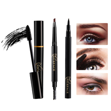 Natural Long Lasting Eye Makeup Set Eyeliner Mascara Eyebrow Pencil Cosmetic(China)