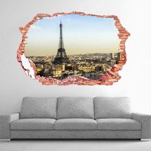 Fashion Romantic Paris Eiffel Tower Sticker wall stickers 3D Paris view mural living bedroom quarto wall decals Home Decor gift(China)