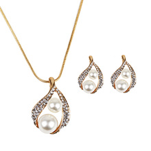 New Fashion Teardrop Design Imitation Pearl And Rhinestone Jewelry Set Vintage Gold Color Jewellery Sets For Women