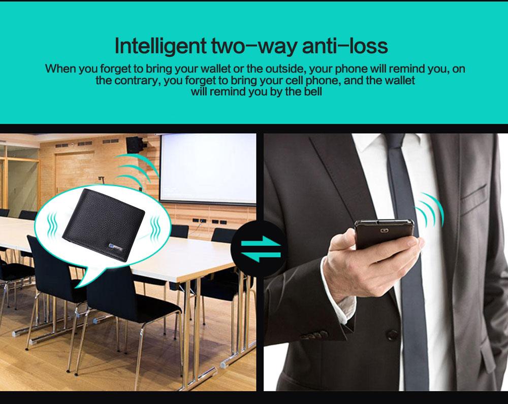 محفظة جلدية ذكية مضادة للضياع مع جهاز تتبع مربوط بالهاتف عبر البلوتوث 4