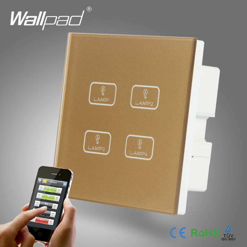 Hot Sale 4 Gang WIFI Remote Wallpad Gold Tempred Glass Switch LED Wireless WIFI 4 Gang Wifi App Remote Double Wall Light Switch<br>